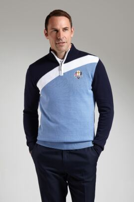 Official Ryder Cup 2016 Mens Cotton Zip Neck Diagonal Colour Block Golf Sweater