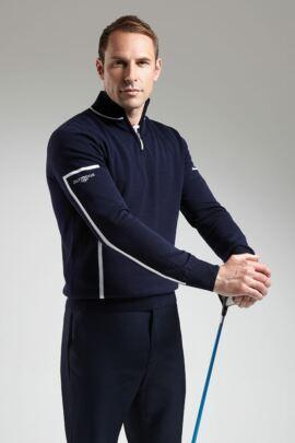 Glenmuir Mens Cotton Zip Neck Intarsia Stripe Detail Golf Sweater