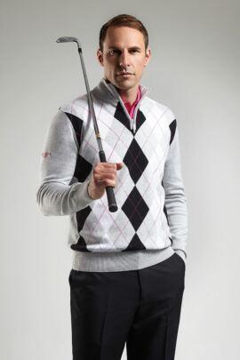 Glenmuir Mens Cotton Zip Neck Diamond Intarsia Sweater