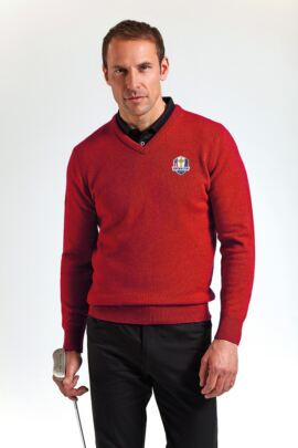 Official Ryder Cup 2016 Glenmuir Mens V Neck Lambswool Golf Sweater