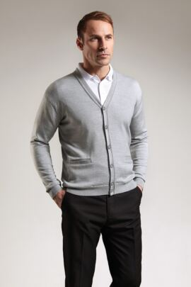 Mens Extra Fine Merino Button Front Cardigan