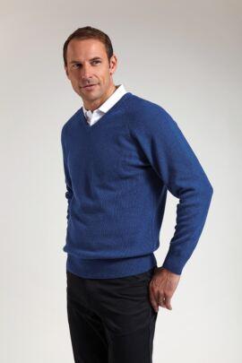 Mens Lambswool Blend Raglan Sleeve V Neck Golf Sweater - SALE