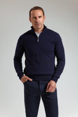 Mens Lambswool Blend Zip Neck Golf Sweater
