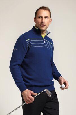 Glenmuir Mens Zip Neck Chest Stripe Detail Golf Sweater