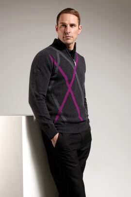 Mens Abstract Diamond Intarsia Detail Zip Neck Golf Sweater