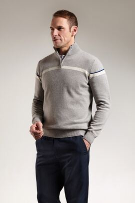 Mens Double Stripe Detail Zip Neck Golf Sweater