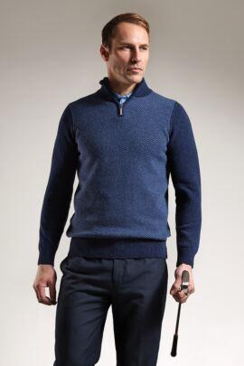 Mens Herringbone Front Zip Neck Golf Sweater