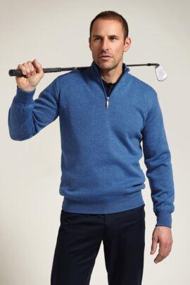 Glenmuir Mens Merino Zip Neck Water Repellent Lightweight Lined Sweater