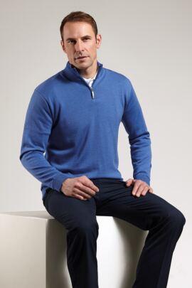 Mens Extra Fine Merino Lined Zip Neck Sweater