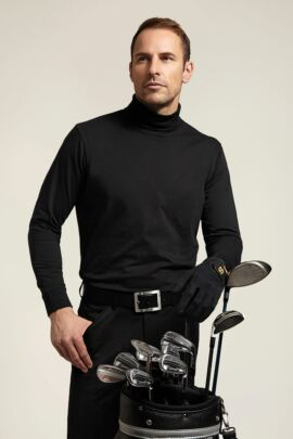 Mens Roll Neck Long Sleeve Cotton Shirt