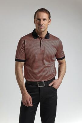 Glenmuir Mens Rib Cuff Narrow Stripe Mercerised Cotton Golf Polo Shirt