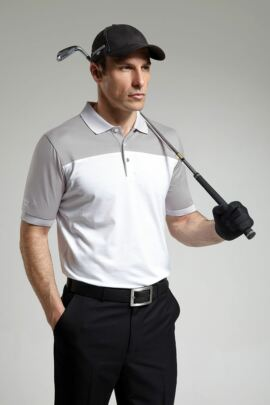 Mens Colour Block Striped Collar Golf Polo Shirt - SALE