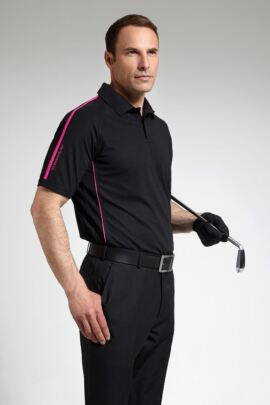 Glenmuir Mens Performance Contrast Piping Polo Shirt