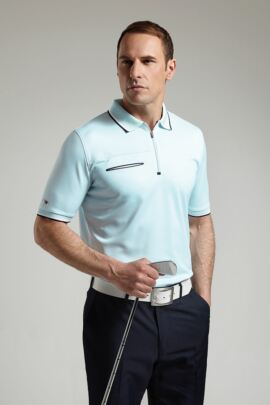 Glenmuir Mens Performance Zip Neck Polo Shirt
