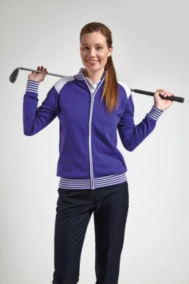 Glenmuir Ladies Stripe Rib Zip Golf Cardigan - Sale