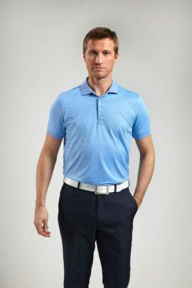 Glenmuir Mens Performance Tailored Fit Plain Golf Polo Shirt