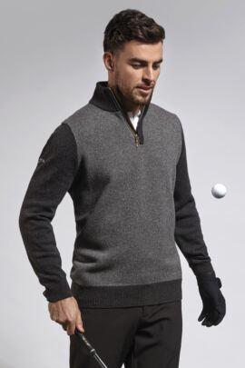 Mens Birdseye Mock Suede Placket Zip Neck Golf Sweater