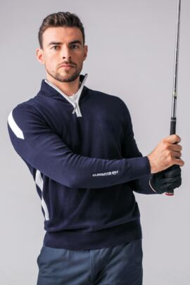Mens Zip Neck Intarsia Stripe Cotton Golf Sweater