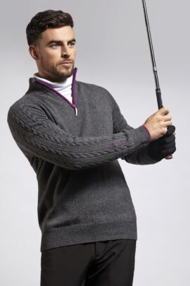 Mens Cable Knit Raglan Sleeve Detail Zip Neck Golf Sweater with Contrast Placket