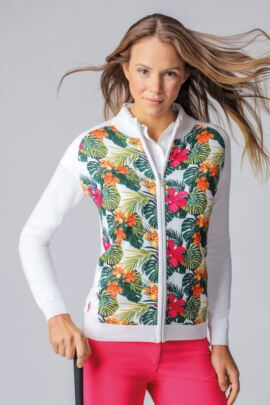 Ladies Zip Front Tropical Floral Printed Cotton Golf Sweater