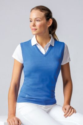 Ladies V Neck Cotton Golf Slipover