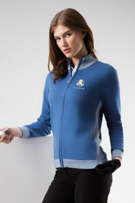 Official Ryder Cup 2018 Ladies Zip Front Striped Panel Touch of Cashmere Golf Sweater