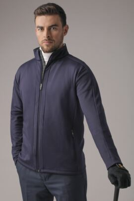 Mens Zip Through Tartan Trim Detail Performance Fleece Golf Jacket