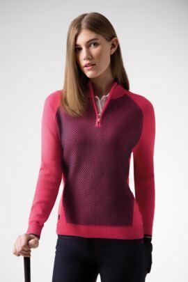 Ladies Zip Neck Reverse Birdseye Touch of Cashmere Golf Sweater