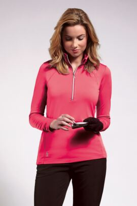 Ladies Performance Zip Neck Midlayer with Ruche Collar and Sleeve