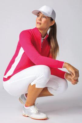 Ladies Zip Neck Birdseye Polka Dot Cotton Golf Sweater