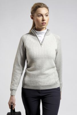 Ladies Zip Neck Dogtooth Lambswool Blend Sweater - Sale