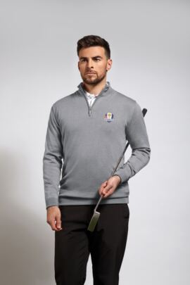 Official Ryder Cup 2018 Mens Extra Fine Merino Lined Zip Neck Sweater
