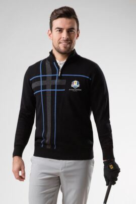 Official Ryder Cup 2018 Mens Zip Neck Abstract Tartan Touch of Cashmere Golf Sweater