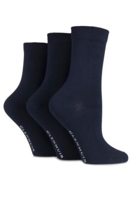 Ladies 3 Pair Classic Plain Bamboo Socks