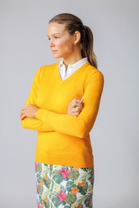 Ladies V Neck Cotton Golf Sweater