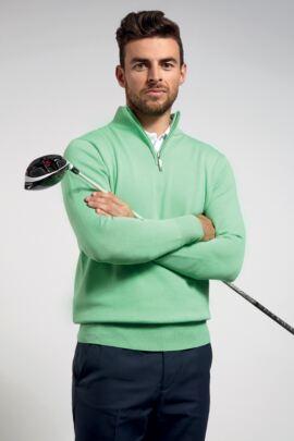 Glenmuir Mens Zip Neck Lightweight Cotton Golf Sweater