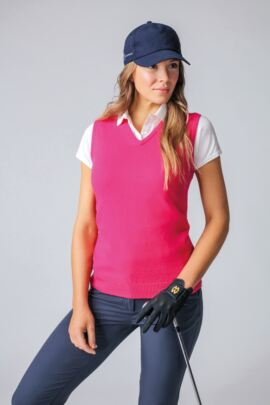 Ladies V Neck Lambswool Golf Slipover