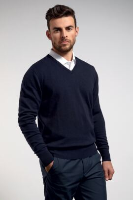 Mens Cotton Cashmere V Neck Golf Sweater with Single Rib Neck