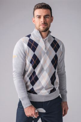 Mens Zip Neck Diamond Intarsia Cotton Golf Sweater
