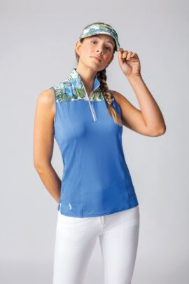 Ladies Sleeveless Tropical Floral Printed Shoulder Performance Golf Polo Shirt