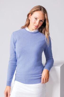 Ladies Crew Neck Lambswool Golf Sweater