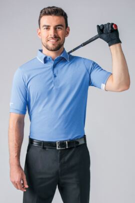 Mens Melange Tipped Collar and Cuff Golf Polo Shirt