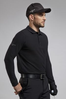 Mens Long Sleeve Cotton Pique Golf Polo Shirt