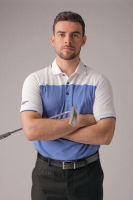 Mens Colour Block Jacquard Collar and Cuffs Performance Pique Golf Polo Shirt
