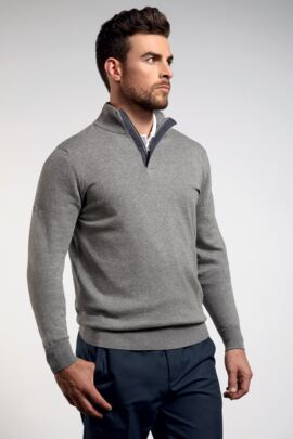 Mens Cotton Cashmere Zip Neck Golf Sweater with Tartan Placket