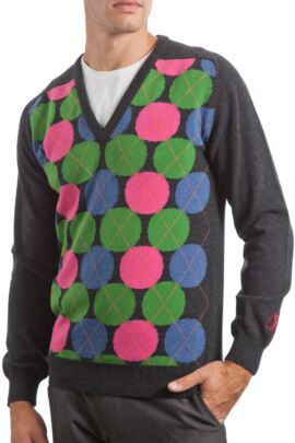 Glenmuir Heritage 100% Extrafine Lambswool Spot Argyle V Neck Fitted Sweater - 50% OFF
