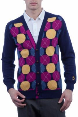 Glenmuir Heritage 100% Extrafine Lambswool Spot Argyle V Neck Fitted Cardigan - 50% OFF