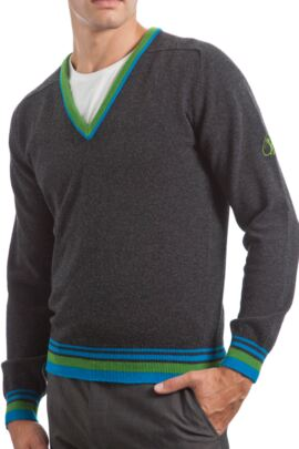 Heritage 100% Extrafine Lambswool 2 Colour Tipping V Neck Fitted Sweater - Sale