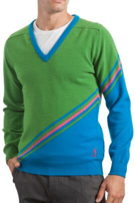 Glenmuir Heritage 100% Extrafine Lambswool Stripe Clash V Neck Fitted Sweater - 50% OFF