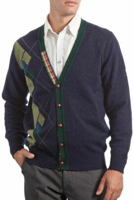 Heritage 100% Lambswool Argyle Half Front V Neck Cardigan - Sale